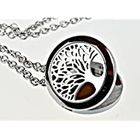 Tree of Life Hypoallegenic 316l Surgical Stainless Steel Aromatherapy Essential Oil Diffuser Necklace Pendant Locket Jewelry Gift Set on 24 Inch Chain