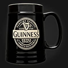 Guinness Black Ceramic Tankard Label Mug