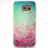 Samsung Galaxy S6 Case, Hongqing Shop Samsung Galaxy SVI Case TPU Rubber Soft Back Cover Case, Ultra Slim Thin Silicon Gel Soft Cover Case, Scratchproof Dustproof Anti-slip [Animal Style] [Tribal Pattern] [Flower Pattern] [Fashion Pattern] [Text Pattern] [Totem Pattern] Protective Skin Case for Samsung Galaxy S VI (2015 Release) Carrier Compatibility Verizon, AT&T, T-Mobile, Sprint, International Carriers. (Not Compatible with Galaxy S6 Edge.) (Plum Blossoms Rose Red Flowers and Tree or Sakura)