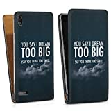 Huawei Ascend P6 leather case bag cover Downflip black - You say I dream too big