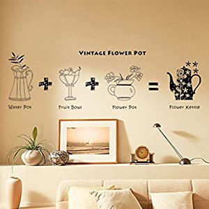 Wall Decor - All-matching Removable Wallpaper Wall Stickers with Retro Flower Pot Pattern Medium Size Black by Mark8shop
