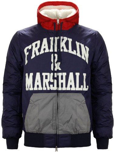 Franklin Marshall Men's Windcheater Hooded Jacket Navy Blue (XX-Large)