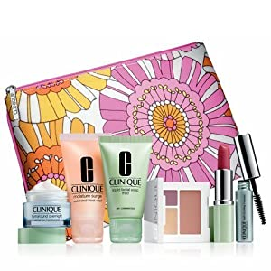 Clinique Spring 2013 Warm Colors Gift Set with 7 Daily Essentials: Turnaround Overnight Moisturizer, Moisture Surge Extended Thirst Relief, Mild Liquid Facial Soap, Colour Surge Eye Shadow Duo with soft-pressed powder blusher, Different Lipstick, Lash Dou