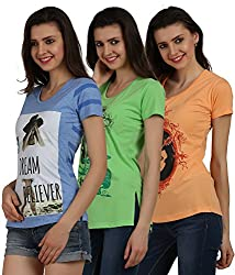 Women's Cotton Printed Tops(Pack of 3)