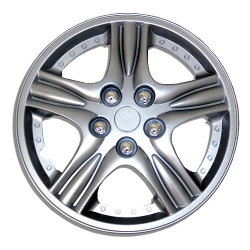 TuningPros WSC-510S15 Hubcaps Wheel Skin Cover 15-Inches Silver Set of 4 (Honda Accord Rims Set Of 4 compare prices)