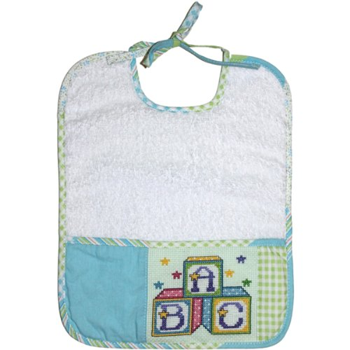 DMC BB3700EA-4603 Cotton Quilt Baby Bib, Green/Blue