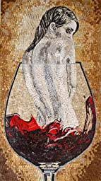 Mozaico - Nude Woman in Wine Glass Marble and Natural Stone Mosaic Fantasy Artwork MS473A