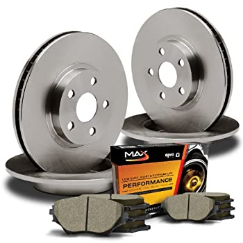 Power Stop K704 Front Ceramic Brake Pad and Cross Drilled//Slotted Combo Rotor One-Click Brake Kit