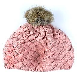 niceeshop(TM) Baby Infant Boy Girl Knit Beanie Crochet Rib Pom Pom Warm Hat/ Cap - Pink