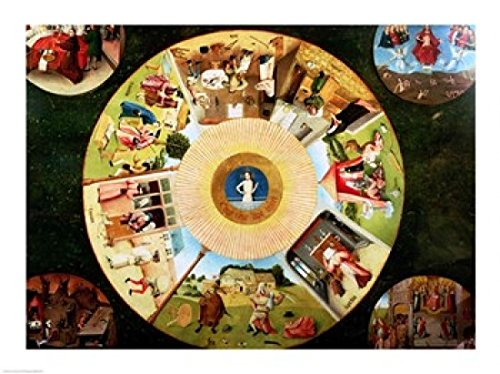 Tabletop Seven Deadly Sins & Four Last Things Poster Hieronymus Bosch (24 x 18)
