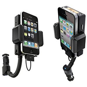Apple iPhone iPhone 3G 3GS FM hands-free car charger/ Holder/ adjustable armgear / FM transmitter - works with all iPod/iPhone 3G with Free Remote Controller