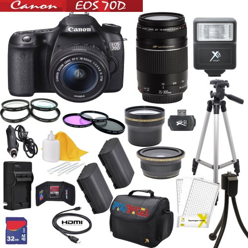 Canon Eos 70D 20.2 Mp Dual Pixel Cmos Digital Slr Camera Comes With Canon Ef-S 18-55Mm F/3.5-5.6 Is Stm Lens And Ef 75-300Mm F/4-5.6 Iii Telephoto Zoom Lens + 58Mm Wide Angle Lens+58Mm 2X Telephoto Lens+Two Replacement Lithium Ion Battery + Travel Charger