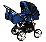 Lux4Kids King 2 in 1 Pram Combi Stroller Pushchair rain cover mosquito net beverage tray mattress changing mat 25 Ocean Cosmic Black