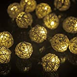 M&T TECH 20 Globe String Lights Outdoor Christmas Lights Solar Powered For Garden Patio Lawn Xmas Party Fence Window-Warm White
