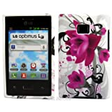 Purple Flora TPU Gel Case Cover For LG Optimus L3 E400