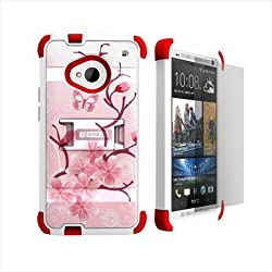 Beyond Cell Tri-Shield Hard Shell and Silicone Skin Rugged Case with Kickstand for HTC ONE M7 - Retail Packaging - White/Cherry Blossom