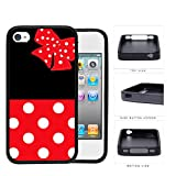Cute Red and White Polka Dots Pattern on Bottom and Bow with Black Background Hard Rubber TPU Phone Case Cover iPhone 4 4s