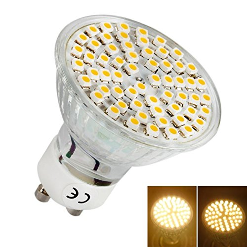 Gu10 3.5W 60 Led 3000-3500K Warm White Spot Light Bulb Lamp (230V)