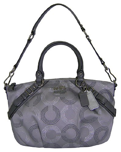 Authentic Coach Dotted Op Art Signature C Madison Sophia Silver Grey Bag 15935