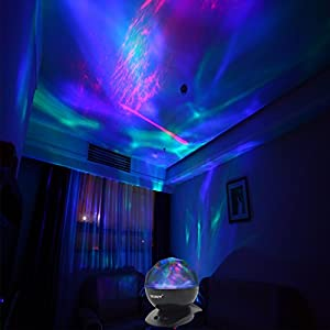 [Upgraded Version w/ Remote Controller] SOAIY® Color Changing Led Night Light Lamp & Realistic Aurora Star Borealis Projector, 4 Timer Optional, 3 Level Brightness, as Sleep Aid/Decorative/Mood Light by SOAIY