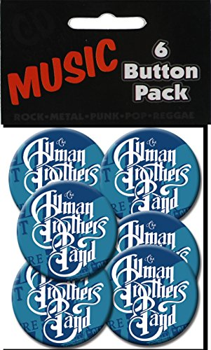 "C&D Visionary The Allman Brothers 1.5"" Button (6-Piece), Blue"