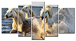 SmartWallArt - Animal Series 5 piece Paintings Five White Horses Happy Running in the River Picture Home Decor Wall Art for living room