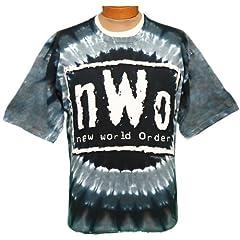 Buy WCW Liquid Blue Tie Dye NWO New World Order Short Sleeve Band Shirt by Giant
