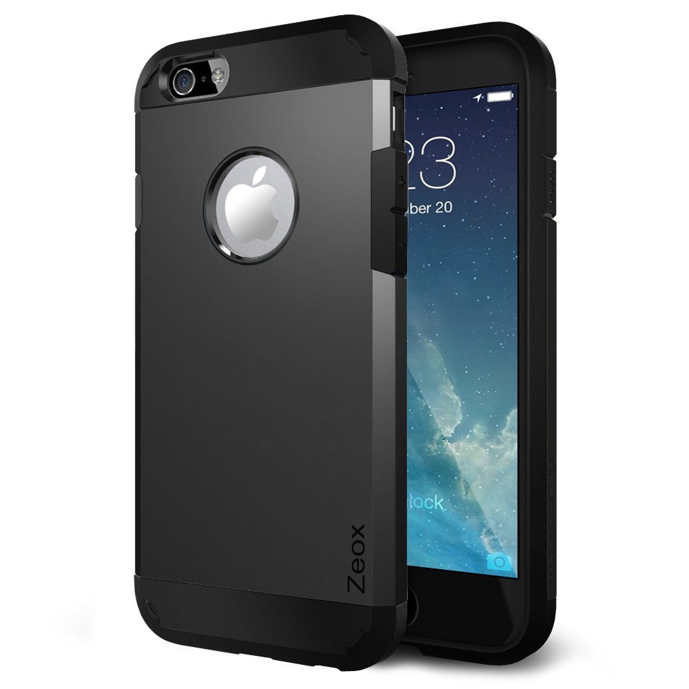iPhone 6 Case, Zeox (Hybrid Tough) Dual Layer Protective Armor Case for iPhone 6 (4.7-Inch)-iPhone 6 Cover with Shock Absorptive Inner Layer/Polycarbonate Hard Back case- Retail Packaging - Black