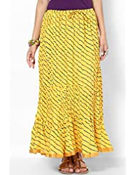 Soundarya Women Cotton Skirts -Yellow -Free Size - B00MPTZQ8A