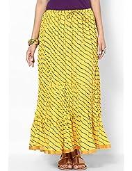 Soundarya Women Cotton Skirts -Yellow -Free Size - B00MPTZQ8A