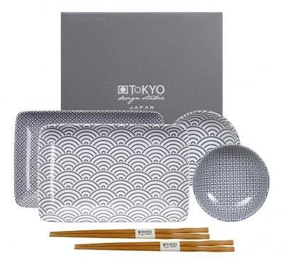 Service à sushis Nippon Grey de Tokyo Design Studio avec baguettes (six pièces)
