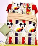 Mickey Mouse Frame Kids Cotton Double Bedsheet with 2 Pillow Covers