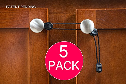 Child Safety Cabinet Locks (5-Pack) Easiest, No Tools, No Drilling, No Adhesives, Latches for Baby Proofing Knobs