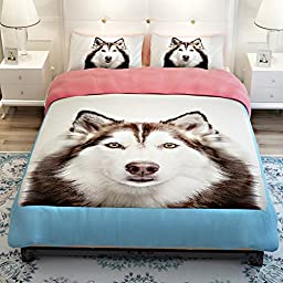 MeMoreCool 3D Creative Design Super Cute Pet Dog Bedding Set Huskies Printing Duvet Cover Boys and Girls Bed Set Fade, Shrink Resistant(Fitted sheet, Queen)