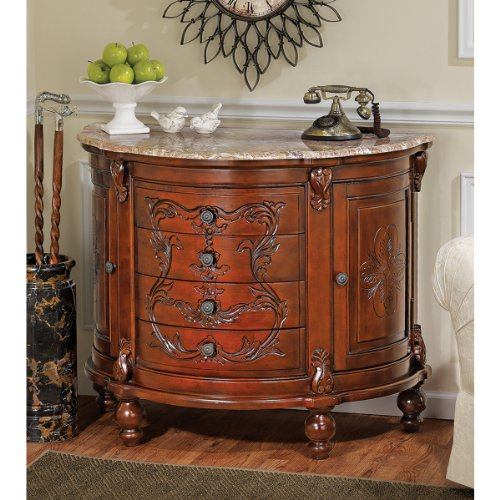 Cheap Hand Carved Solid Hardwood Marble Topped Console Foyer Table (AE6552)