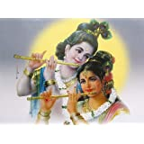 """Dolls Of India """"Eternal Lovers - Radha And Krishna"""" Reprint On Paper - Unframed (43.18 X 33.02 Centimeters)"""
