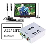 Mini HDMI to AV Converter 1080p- HDMI to RCA CVBS AV Composite Adapter- HDMI2AV Converter supports PAL/NTSC with USB Charge Cable for PC Laptop Xbox e.t.c