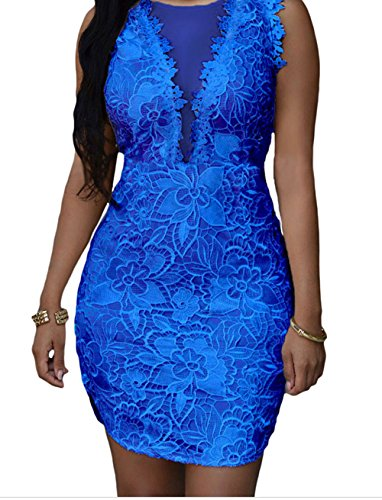 Christmas YeeATZ Lace Nude Mesh Accent Dress(Blue,M) (Batgirl Cowl Mask compare prices)