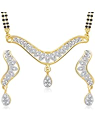 Amaal Mangalsutra Pendant Set With Earrings For Women Girls Jewellery Set Gold Plated In Cz American Diamond MSPT0145