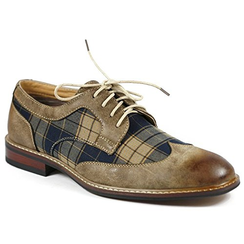 Ferro Aldo M-19266A Brown Mens Lace Up Plaid Dress Classic Shoes (12) (Shoes Aldo compare prices)