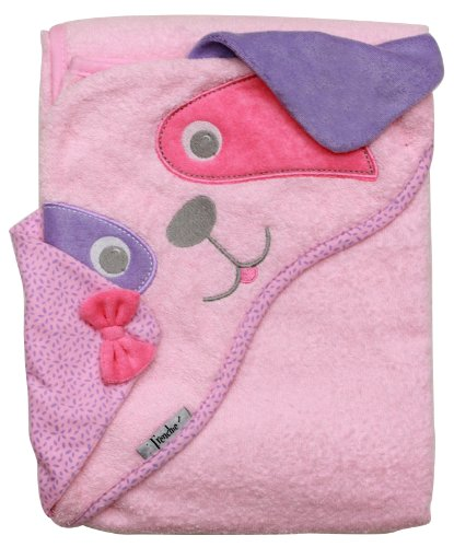 "Extra Large 40""x30"" Absorbent Hooded Towel, Pink Dog, Frenchie Mini Couture"