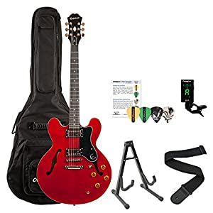epiphone dot cherry finish electric guitar kit includes gig bag stand strap cable tuner. Black Bedroom Furniture Sets. Home Design Ideas
