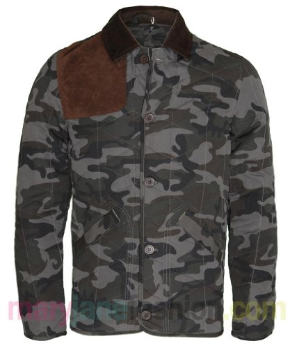 Mens Camouflage Khaki Green Suede Cord Elbow Patch Quilted Collar Jacket Coat XL