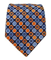 100% Silk Woven Navy, Orange and Blue Scope Geometric Patterned Tie