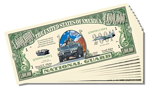 Military - National Guard Novelty Million Dollar Bill - 25 Count with Bonus Clear Protector & Christopher Columbus Bill