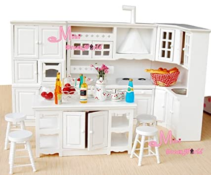Best Dining Kitchen Cabinet Island Cupboard Stool pcs Dollhouse Miniature Wdw