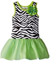 Rare Editions Little Girls' Zebra Knit Bodice To Mesh Skirt