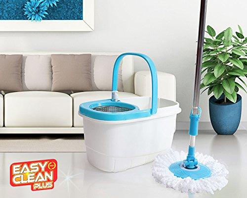 L'originale Easy Clean Plus - Il nuovo mocio lavapavimenti con azione rotante in microfibra ultra assorbente senza pedale con cestello in acciaio inox - un uragano di potenza in strizzata! - spin 360° lava pavimenti casa completo di secchio strizzante ruotante in metallo