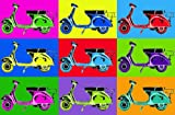 Giant Art® XXL Poster Vesparama Photo mural wall posters large format 117x115 cm Vespa Moped Pop Art colored illustration graphic