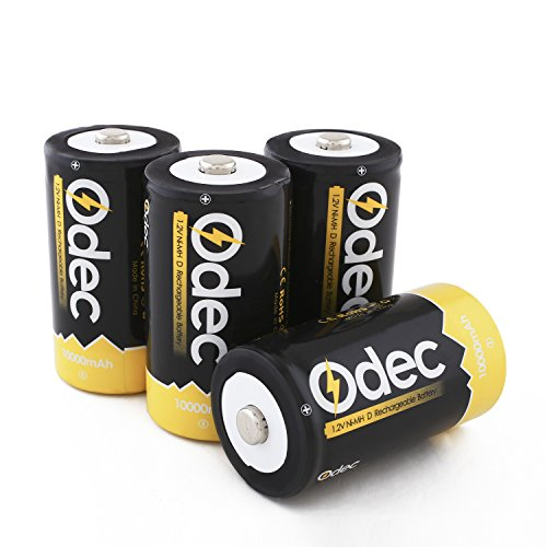 Odec D Cell Rechargeable Battery, 4-Pack 10000mAh Deep Cycle NiMH Battery Pack (D Battery Rechargeable compare prices)